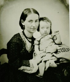 Photograph of Annie Corsina Fox George with Henry George Jr., circa 1862-1863