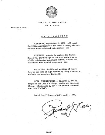City of Chicago Henry George Day Proclamation, September 2, 1963_1