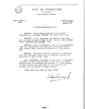 City of Evanston, IL Henry George Days Proclamation, July 15-18, 1976_1