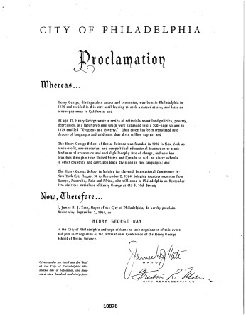 City of Philadelphia Henry George Day Proclamation, September 2, 1964_1