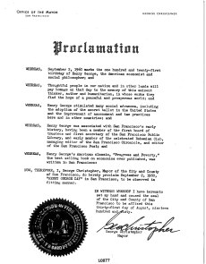 City of San Francisco Henry George Day Proclamation, September 2, 1960_1