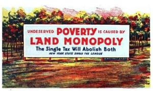 New York State Single Tax League Sign, undated