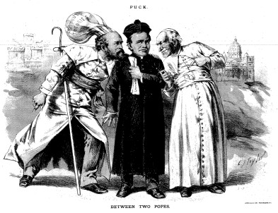 """Between Two Popes,"" 1887. Copy of cartoon that appeared in Puck. [Original on display at the Henry George Birthplace.]"