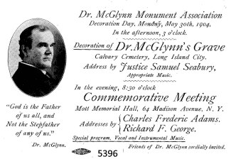 Flyer for McGlynn Monument Association Meeting, May 30, 1904